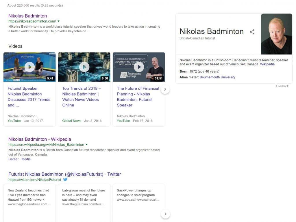 Example Organic Search Results for Nikolas Badminton