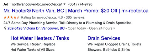 Mr Rooter Google Ad with Sitelink Examples