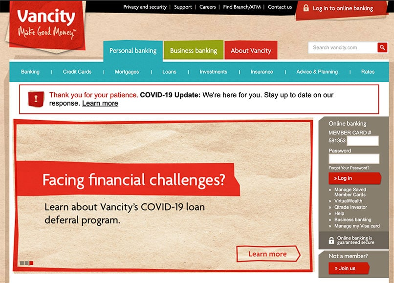 Vancity Bank with COVID 19 Announcements on Homepage