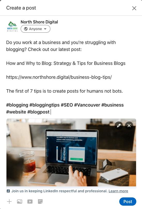Sharing blog post on LinkedIn Page